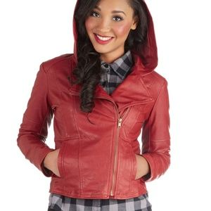 'Hit the Bricks' Faux Leather Jacket with Hood